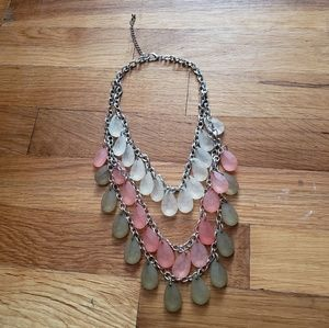 Watermelon Green Pink & Yellow Crystals Necklace
